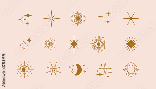 Fototapeta Vector set of linear icons and symbols - stars, moon, sun - abstract design elements for decoration or logo design templates in modern minimalist style obraz