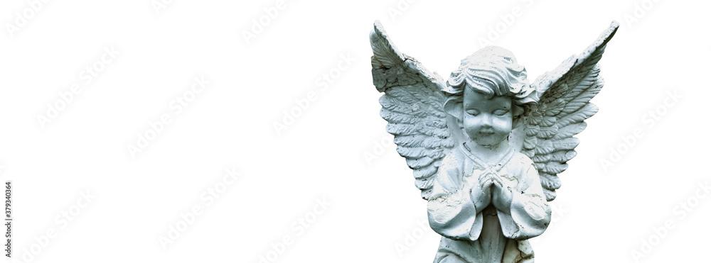 Fototapeta Ancient statue of  little angel as symbol of guards for children Love, faith, hope, religion, Christianity, good concept