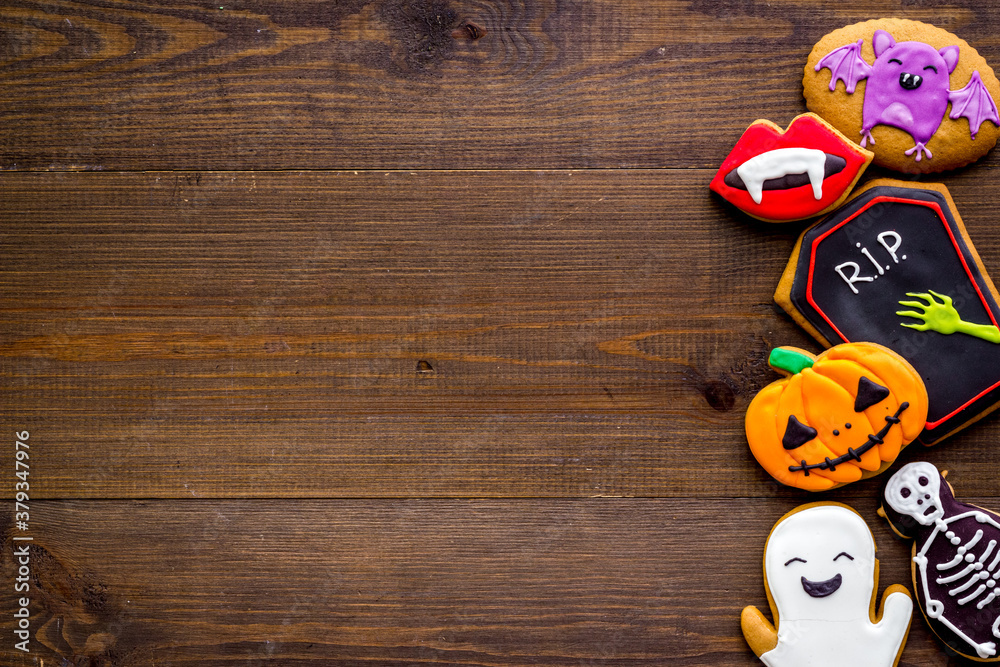 Fototapeta Halloween holiday background with cookies, top view