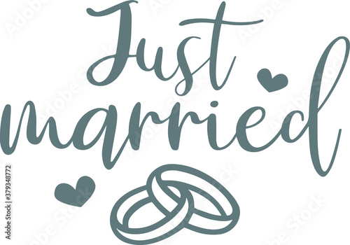 Fototapeta just married logo sign inspirational quotes and motivational typography art lettering composition design obraz