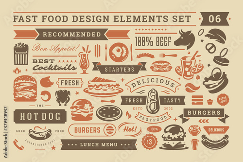 Fototapeta Fast food and street signs and symbols with retro typographic design elements vector set for restaurant menu decoration obraz