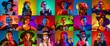 Leinwandbild Motiv Collage of portraits people in carnival costumes