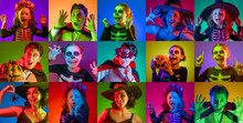 Collage Of Portraits People In Carnival Costumes