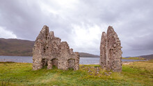 Ruin At The Ardvreck Castle At Loch Assynt In The Highlands Of Scotland