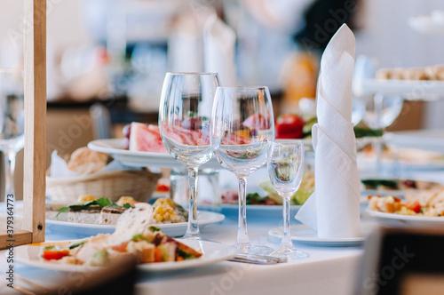Fotografie, Obraz glasses of champagne at the gala buffet
