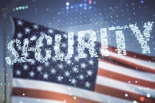 Obraz na plátně Virtual cyber security creative concept on US flag and blue sky background