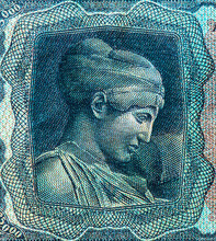 Bust Of Nymph Deidamia. Portrait From Greece 25000 Drachmai 1943 Banknotes.