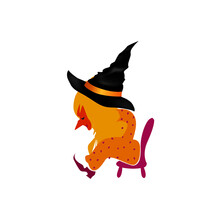 Liitle Witch Sitting On A Small Chair Tyed After A Good Holiday. Halloween Character Design Element For Autumn Greeting Card