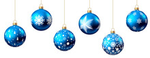 Blue Christmas  Ball  Isolated On White Background.