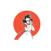 Beauty Retro Pinup Cartoon Girl Holding A Delicious Tasty Cake, For Your Logo, Label, Emblem