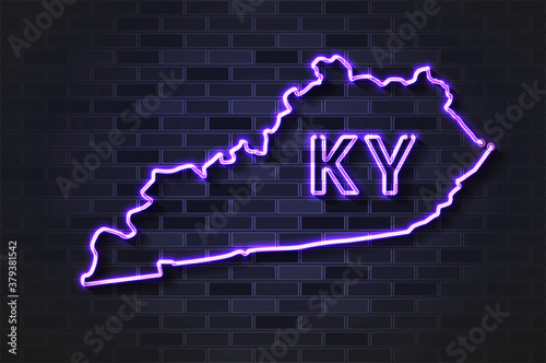 Kentucky map glowing neon lamp or glass tube on a black brick wall Canvas Print