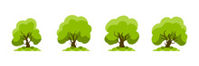 Collection Of Flat  Trees. Tree Set Isolated On White Background. Vector Illustration.
