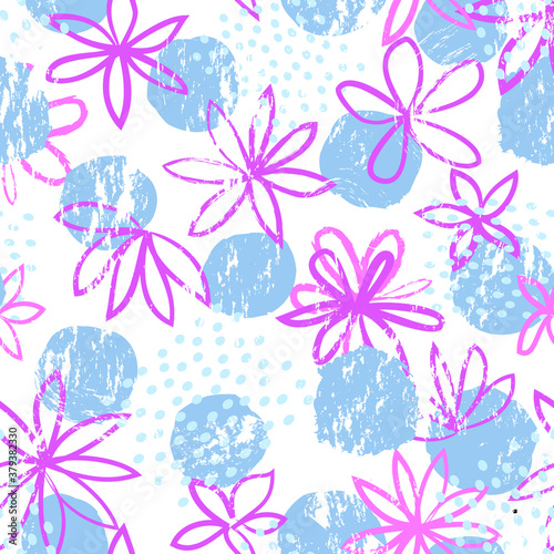 Photo Abstract floral seamless pattern with geometric shapes