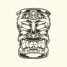 Totem Of Hawaiian Tiki God Tribal Stock Illustration Vector