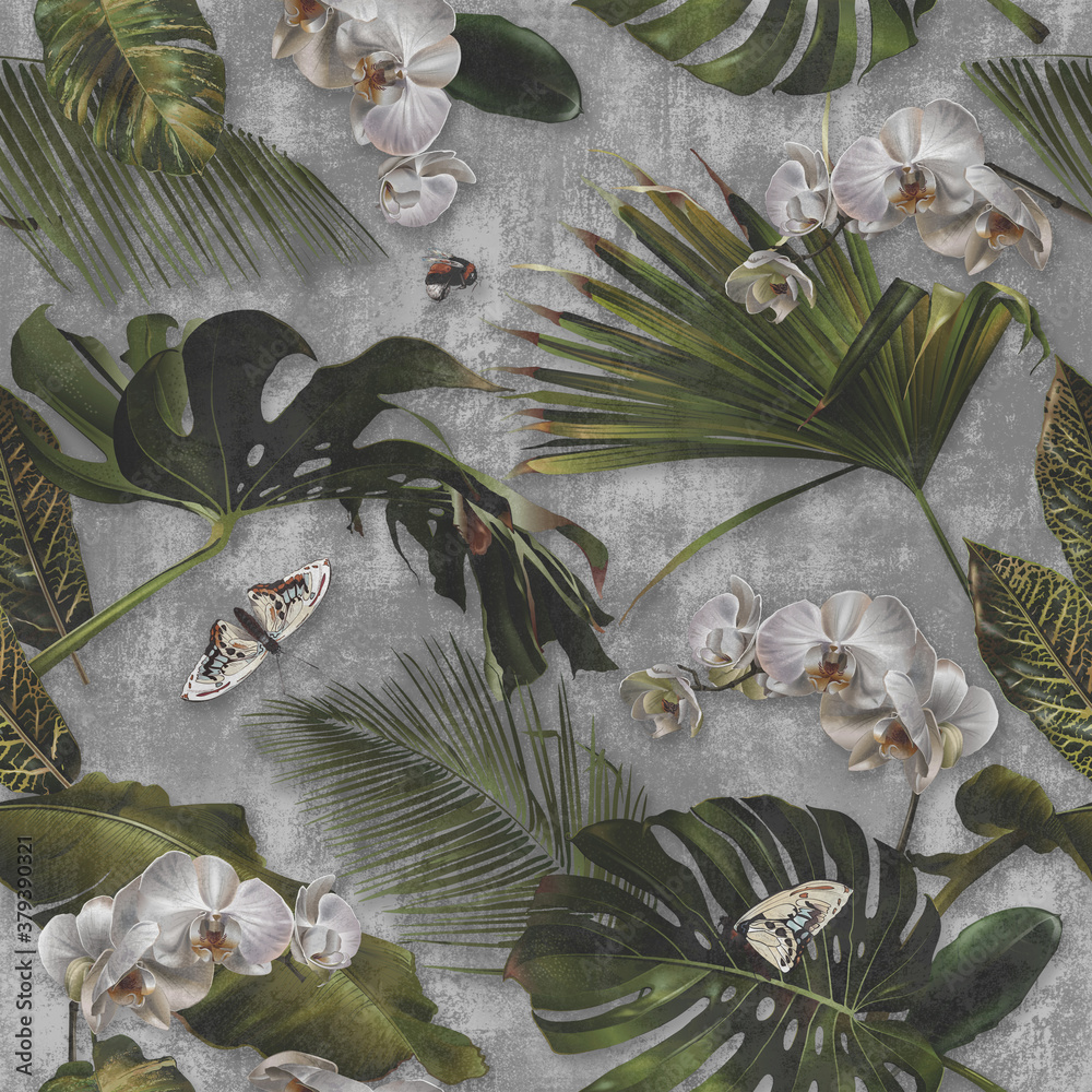 Concrete wallpaper, palm leaves and orchid flower