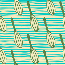 Green Colored Corolla Ornament Seamless Pattern. Doodle Simple Kitchen Elements On Background With Blue Strips.