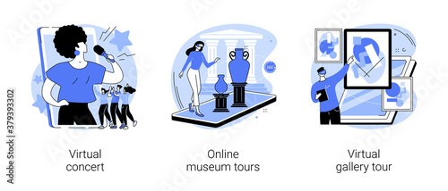 Billede på lærred Stay home entertainment abstract concept vector illustration set