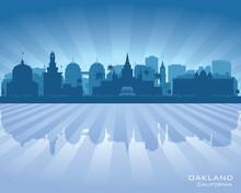 Oakland California City Skyline Vector Silhouette