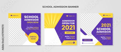 Fototapeta School admission banner for social media post template obraz