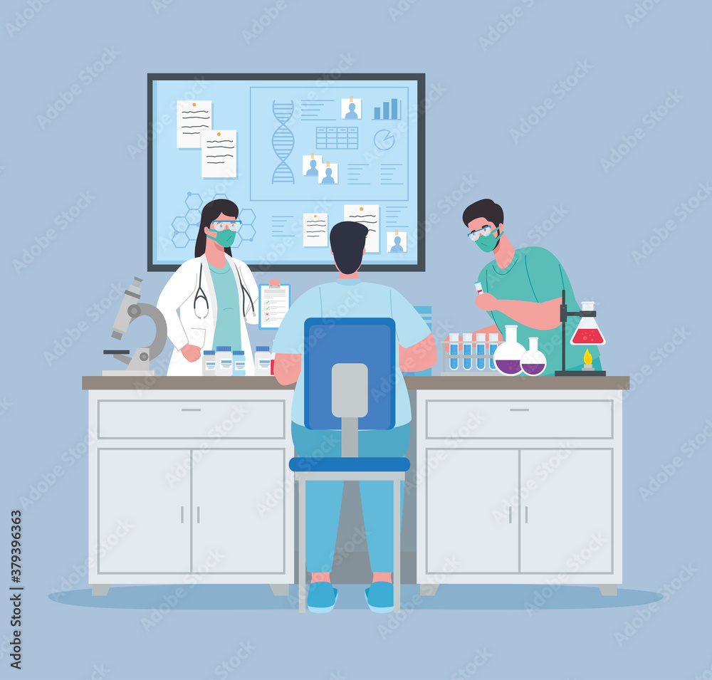 Fototapeta medical vaccine research, doctor group in laboratory for scientific virus prevention study vector illustration design