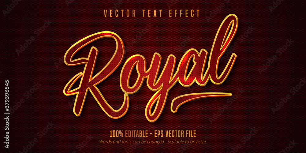 Fototapeta Royal text, shiny golden and red color style editable text effect