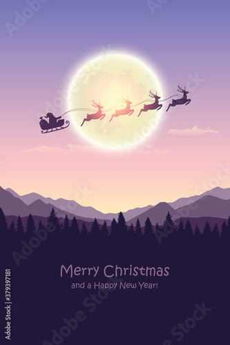 Fotografía christmas banner santa claus in a sleigh with reindeer by full moon vector illus