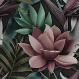 Flowers wallpaper and palm leaves in different colors - 379398749