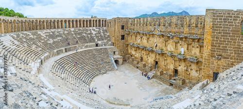 Obraz na płótnie Architecture of Aspendos amphitheater, Turkey.