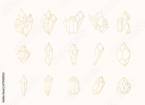 Fotomural Hand drawn collection of golden crystals, gems, gemstones and diamonds