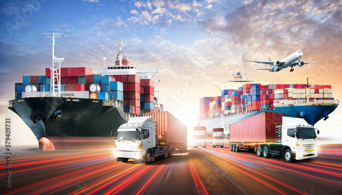 Photo Business logistics and transportation concept of containers cargo freight ship a