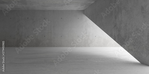 Fototapeta Abstract empty, modern concrete room with indirect lighting and diagonal wall and rough floor - industrial interior background template obraz