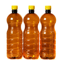 Brown Plastic Bottles With Yellow Cap Isolated On White Background.