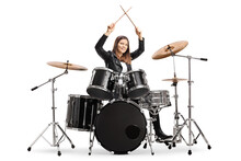 Young Female Drummer Starting A Drum Session