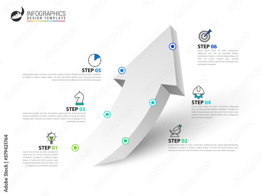 Fototapeta Infographic design template. Creative concept with 6 steps