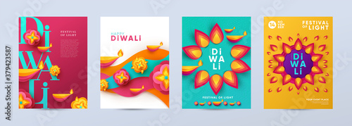 Fotografía Happy Diwali Hindu festival modern design set in paper cut style with oil lamps on colorful waves and beautiful flowers of lights