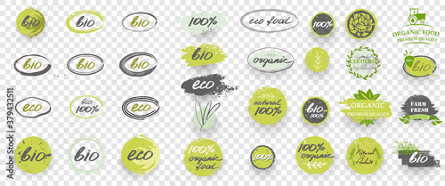 Fototapeta Green Organic natural bio labels icon set, healthy food badges healthy nutrition isolated stickers. Large collection of emblems, elements, frames, brush and logo. Vector illustration obraz