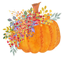 Fall Pumpkin Watercolor Painti...