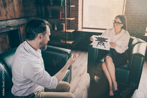 Photo of successful business man listen psychotherapist session advises lady hol Wallpaper Mural