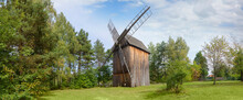 Old Wooden Windmill In The Cou...