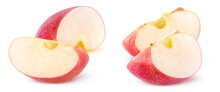 Isolated Apple Wedges. Two Slices Of Red Apple Isolated On White Background