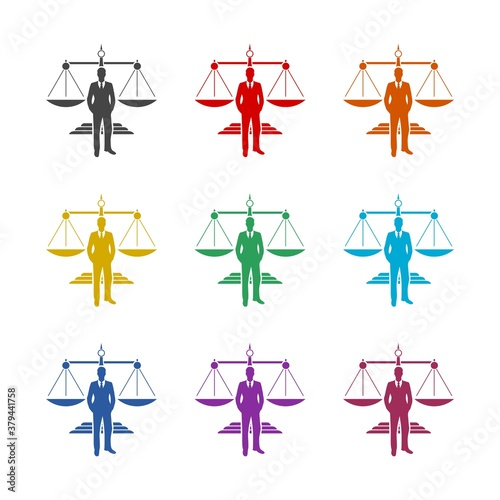 Businessman and Justice Scales icon, color set Canvas Print