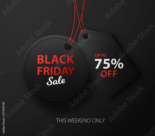 Fototapeta Black Friday sale discount background for commercial advertising. Black 3d labels obraz