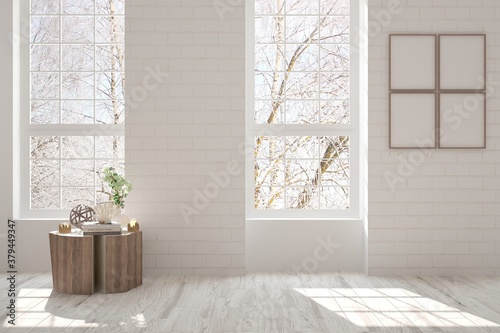 Cuadros en Lienzo White empty room with winter landscape in window