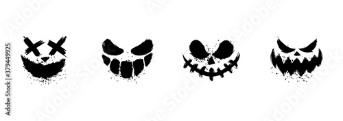 Scary faces of Halloween pumpkin or ghost Wallpaper Mural