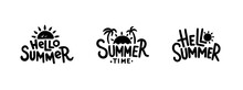 Summer Hand Drawn Vector Illustrations, Emblems, Badges, Labels, Logos. Retro Style. Isolated On White Background