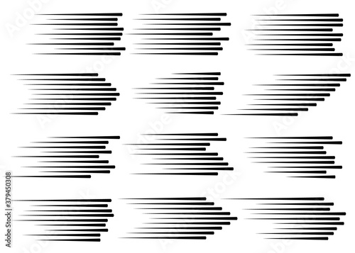 Papel de parede speed lines isolated set.