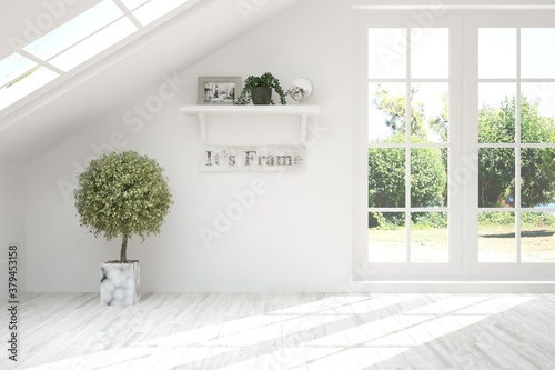 Fotografia White empty room with summer landscape in window