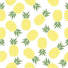Seamless Pineapple Pattern Vector Illustration On White.
