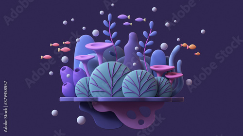 Floating underwater island with turquoise coral reef, blue seaweeds, algae, purple sponges, orange red fishes. Cartoon marine landscape tropical colorful plants. Ocean bottom nature. 3d illustration