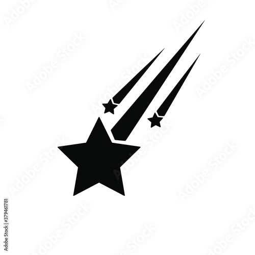 vector silhouettes of three shooting stars. Wallpaper Mural